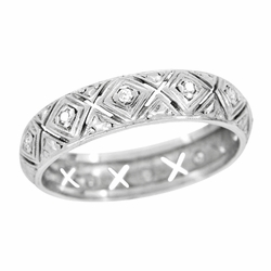 Art Deco Diamond Set Antique Wedding Band in Platinum - Size 8 1/2