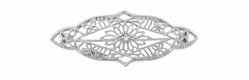 Art Deco Diamond Set Filigree Floral Brooch in 14 Karat White Gold