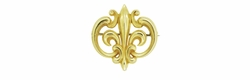 Antique Victorian Fleur De Lis Scroll Brooch and Watch Pin in 14 Karat Yellow Gold