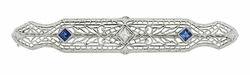 Antique Sapphire and Diamond Filigree Art Deco Bar Brooch in 14 Karat White Gold and Platinum