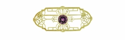 Edwardian Filigree Amethyst Brooch in 14 Karat Yellow Gold