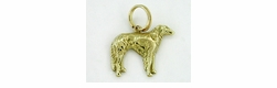 Russian Wolfhound Charm in 14 Karat Gold