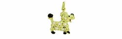 Enameled Poodle Charm in 14 Karat Gold