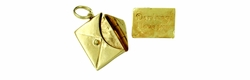 Envelope and Love Letter Movable Charm in 14 Karat Gold