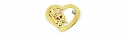 Floating Heart Charm with Diamond in 14 Karat Yellow Gold