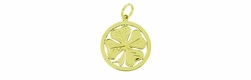 Round Lucky 4 Leaf Clover Charm Pendant in 14 Karat Gold