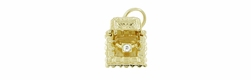 Movable Diamond Engagement Ring and Ring Box Charm in 14 Karat Gold