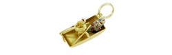 Enameled Big Catch Fisherman and <br>Fishing Boat Charm in 14 Karat Gold