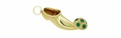 Magic Genie Clog Charm Pendant in Emeralds and 18 Karat Gold