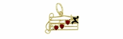 Musical Scale with Enameled Hearts and Notes Charm in 14 Karat Gold