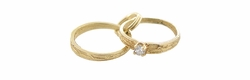 Engagement and Wedding Rings Charm in 14 Karat Gold