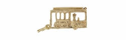 Cable Car Charm with Moving Conductor in 14 Karat Gold
