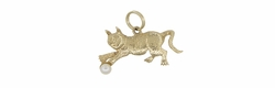 Playful Cat Charm in 14 Karat Gold