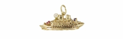 Vintage Gem Set Cruise Ship Charm in 14 Karat Gold