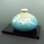 Kutani Bud Vase (teal over silver leaf)