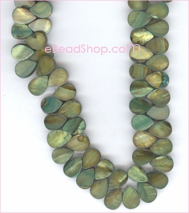 Mother of Pearls<br>Side Drilled Drops Green