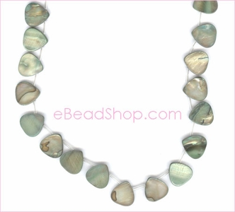 Mother of Pearls Top Side Drilled Hearts Light Teal
