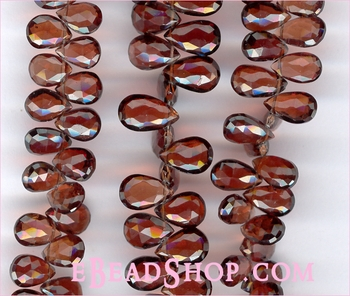 Garnet Faceted Hearts Briolette 5x8 mm