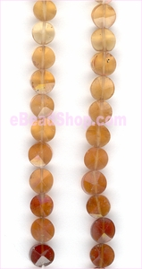 Hessonite Facetted Coin (Machine Cut)