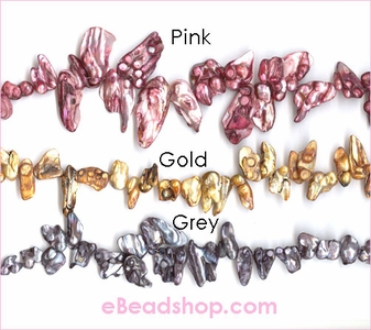 Mother of Pearls Baroque Shape Pink, Gold, Gray