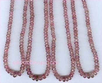 Pink Tourmaline Facetted Roundell<br>3 - 4mm