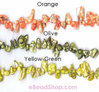 Mother of Pearls Baroque Shape Orange, Olive, Yellow-Green
