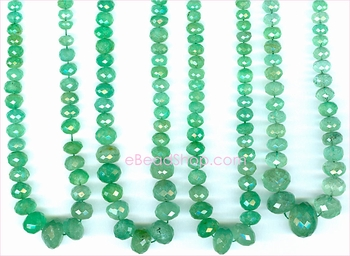 Emerald Facetted Roundell Green<br>3 to 8 mm