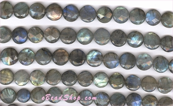 Labadorite Faceted Coin<br>6x15 mm