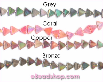 Mother of Pearls<br>Flat Triangles Aurora Borealis Finish<br>Grey, Coral, Copper, Bronze