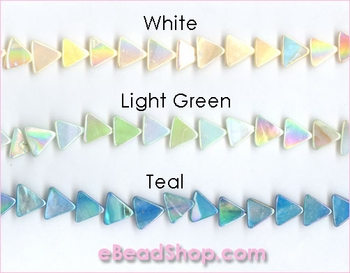 Mother of Pearls<br>Flat Triangles Aurora Borealis Finish<br>White, Light Green, Teal