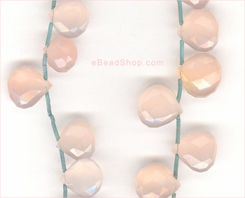 Pink Chalcedony Facetted Hearts