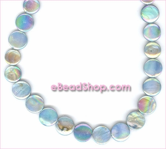 Mother of Pearls<br>Flat Coin Light Teal Aurora Borealis Finish