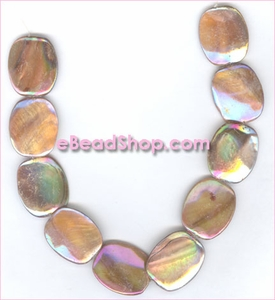 Mother of Pearls<br>Flat Oval Large Disk Bronze Aurora Borealis Finish