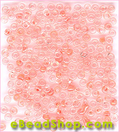 Seed Bead Clear Coral Lined