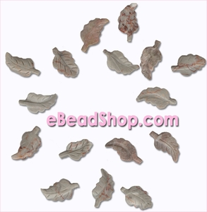 Leaf Beads Gray Jasper<br>Curved 33 x 18 mm