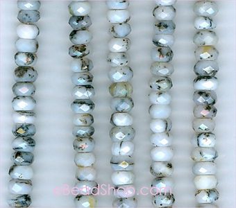 Pink Opal Facetted Roundel<br>7 - 8 mm