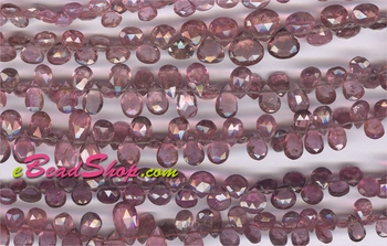 Pink Tourmaline Briolette Pear Drops<br>3x4 to 6x7 mm