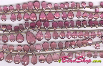 Pink Tourmaline Briollete Faceted Drops<br>4x6 to 8x12 mm