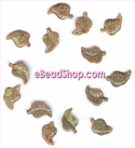 Leaf Beads Red-Gray Jasper<br>Curved 28 x 20 mm