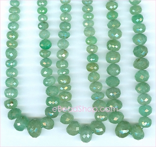 Emerald Facetted Roundell Green<br>4 to 11 mm