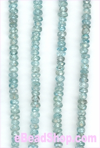 Blue Zircon Faceted Roundell 4mm
