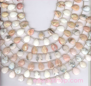 Peruvian Pink Opal Faceted Briolette Side-Drilled