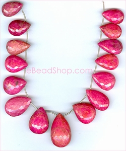Ruby Faceted Pears 10 x 15 mm