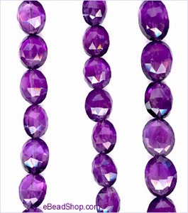 Amethyst faceted Flat Ovals