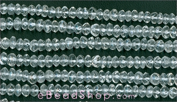 Quartz Crystal Facetted Roundell<br>4 - 5 mm