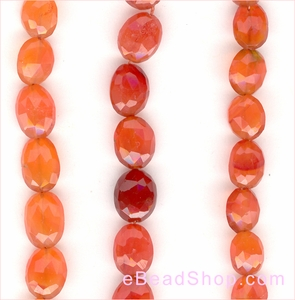 Carnelian Flat Facetted Oval<BR>8 x 10 mm