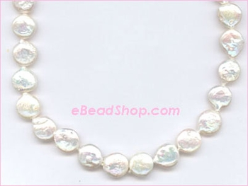 Pearl  Coin White 10 - 12 mm
