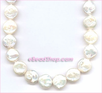 Pearl: Coin Off White 10 - 12 mm