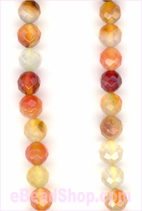 Carnelian Multi Faceted Round 6mm