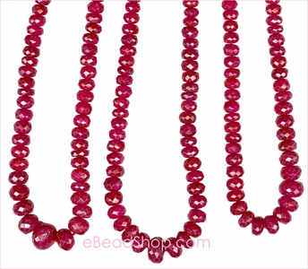 Ruby Dark  Red  Facetted Roundel 2.5 - 4 mm